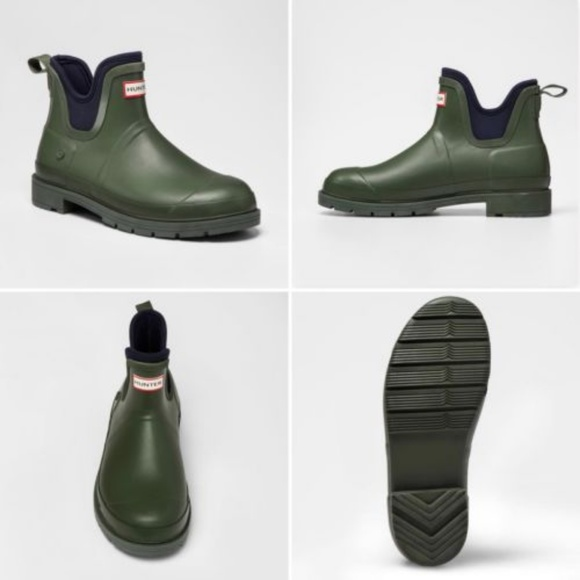 3836fbdc7f1 Hunter Target Ankle Rain Boot Mens Olive Green New NWT